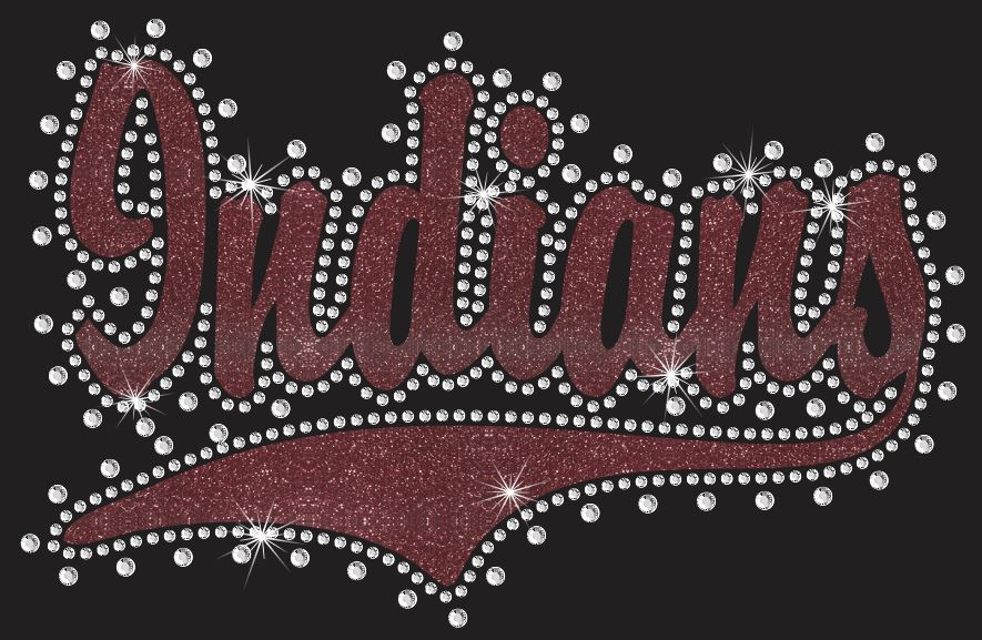 Indians Swoosh Vinyl and Rhinestone Transfer - Click Image to Close