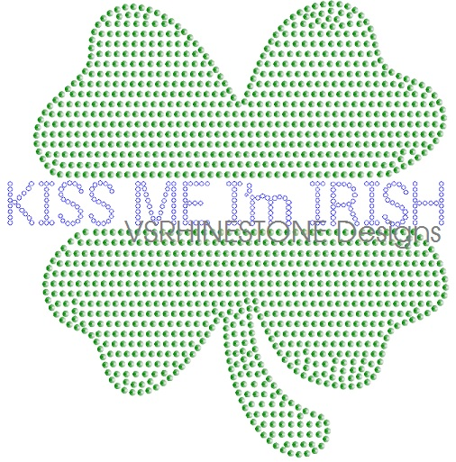 Kiss Me I'm Irish Rhinestone and Sequin Transfer