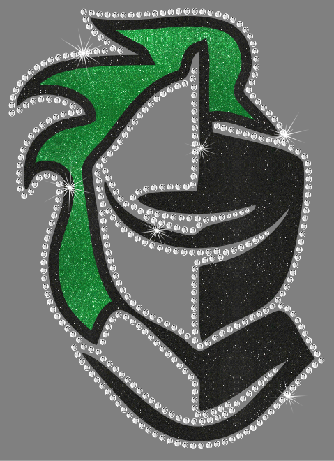 Knight Head Mascot Vinyl and Rhinestone Transfer
