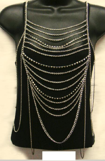 Layered Body Chain with Rhinestone accents - Gold - CLEARANCE