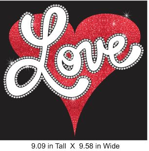 Love Heart Vinyl and Rhinestone Transfer