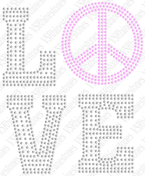 Love Peace Hotfix Sequin Transfer