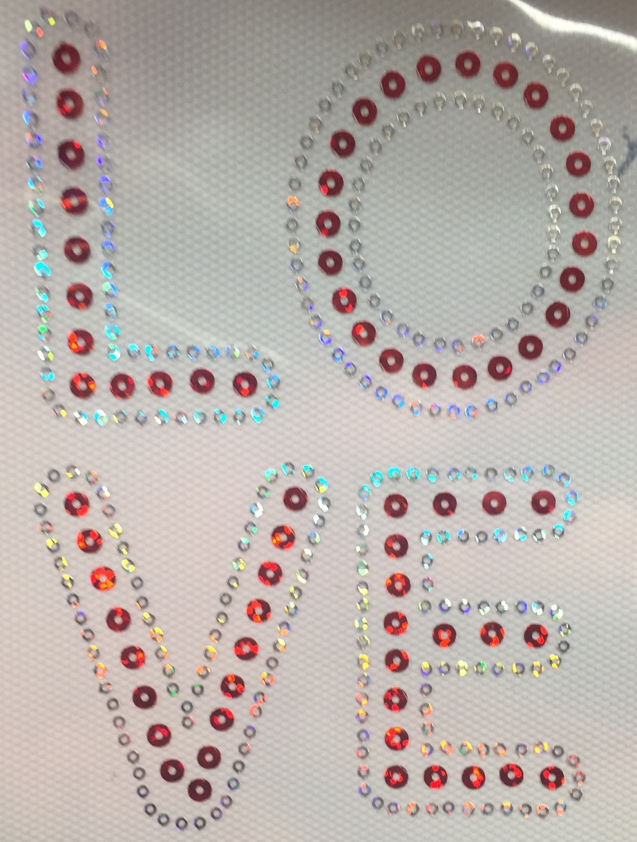 LOVE WORD - Stacked Sequin Transfer