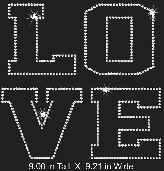 Love Block Word Rhinestone Transfer