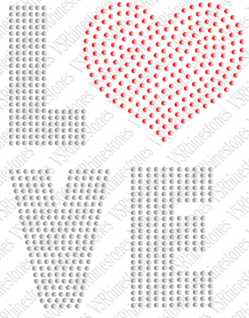Love Sequin Transfer word with Heart