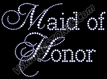 Maid of Honor - Capital Cursive Rhinestone Transfer