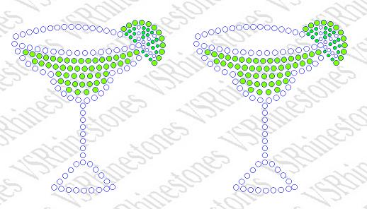 Margarita Glasses - set of two Rhinestone Transfer