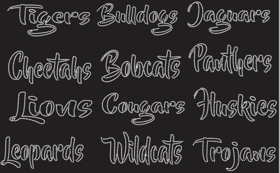 Mascot Names - Type your Own Rhinestone Transfer