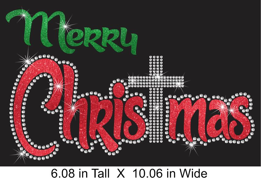 Merry CHRISTmas Vinyl and Rhinestone Transfer