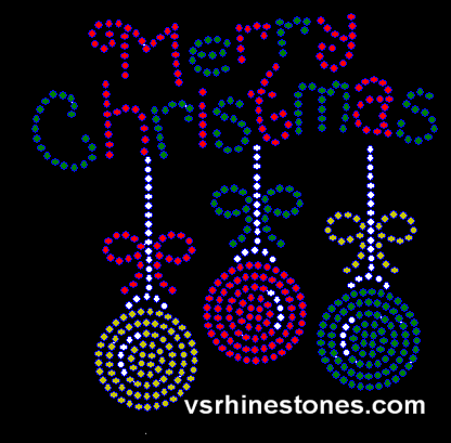 Merry Christmas Ornament Rhinestone Transfer