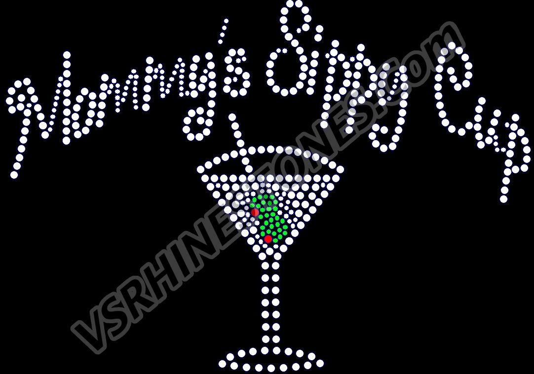 Mommy's Sippy Cup - Martini Rhinestone Transfer