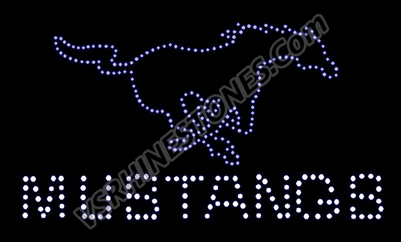 Mustang Mascot & Word Rhinestone Transfer - Purple