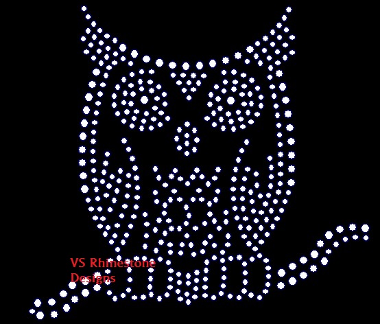Owl Detailed Rhinestone Transfer