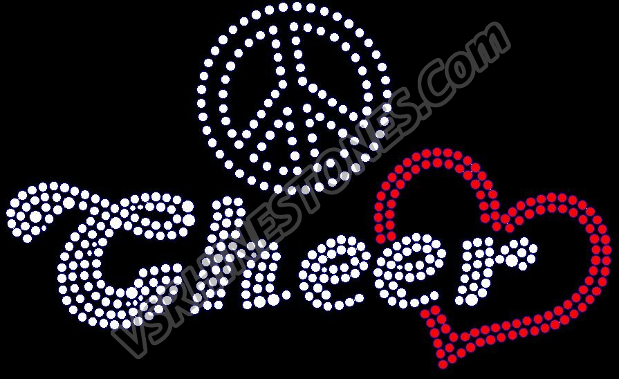 Peace Love Cheer Rhinestone Transfer - Script
