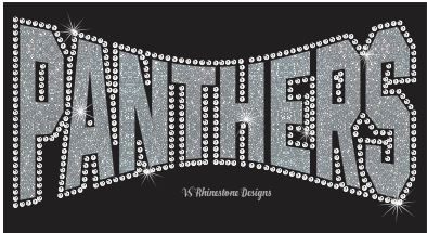 Panthers Arched Vinyl and Rhinestone Transfer