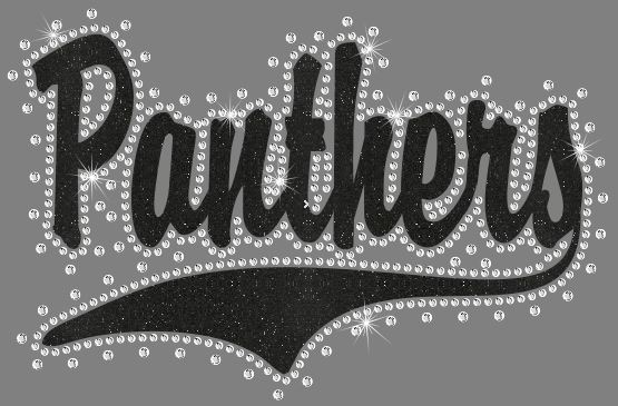 Panthers Swoosh Vinyl and Rhinestone Transfer