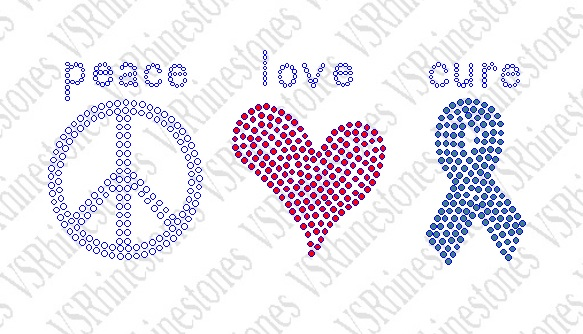 Peace Love Cure Rhinestone Transfer - Select Color Below