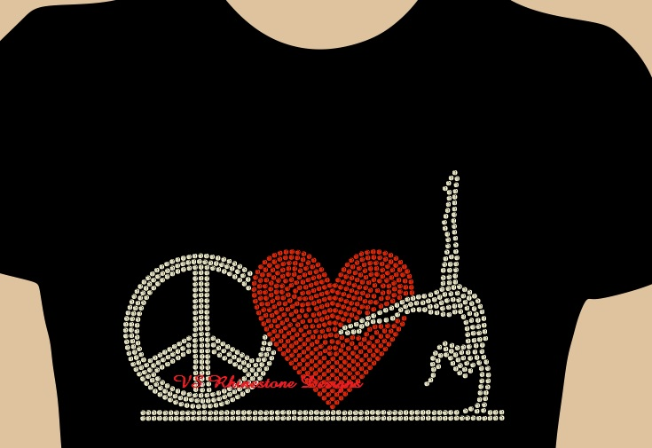 Peace Love Gymnastics Rhinestone Transfer - Red Heart