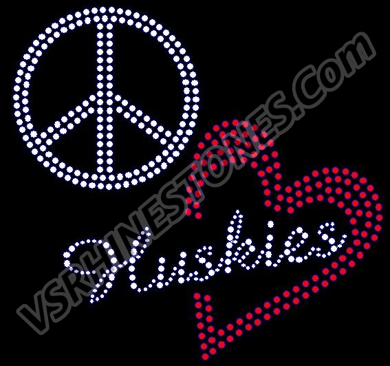 Peace Love Huskies red heart Rhinestone Transfer