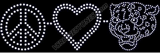 Peace Love Leopards Rhinestone Transfer
