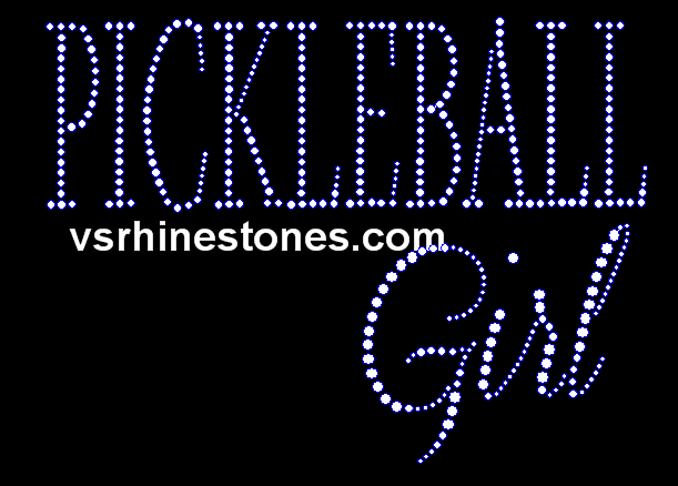 Pickleball Girl Rhinestone Transfer
