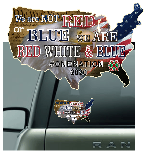 Red White and Blue Car Sticker