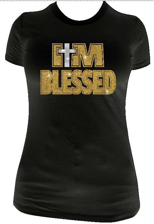 I AM Blessed Crossl Vinyl and Rhinestone Transfer
