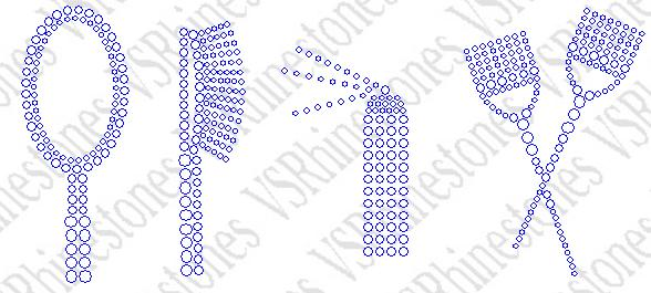Mirror Stylist Tool Kit Rhinestone Transfer