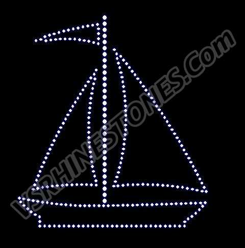 Sailboat Rhinestone Transfer - Large