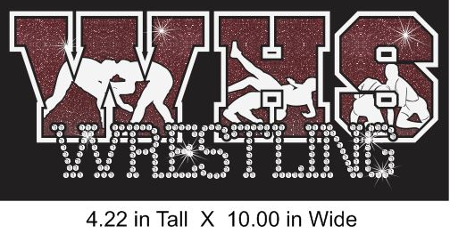 School Wrestling Vinyl and Rhinestone Transfer