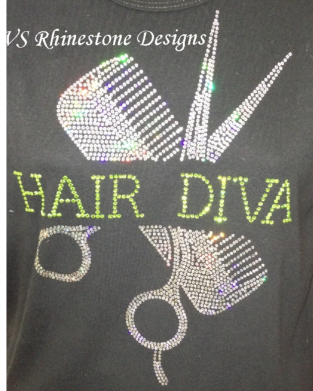 Comb/Scissor Rhinestone Transfer and Sequin Combo