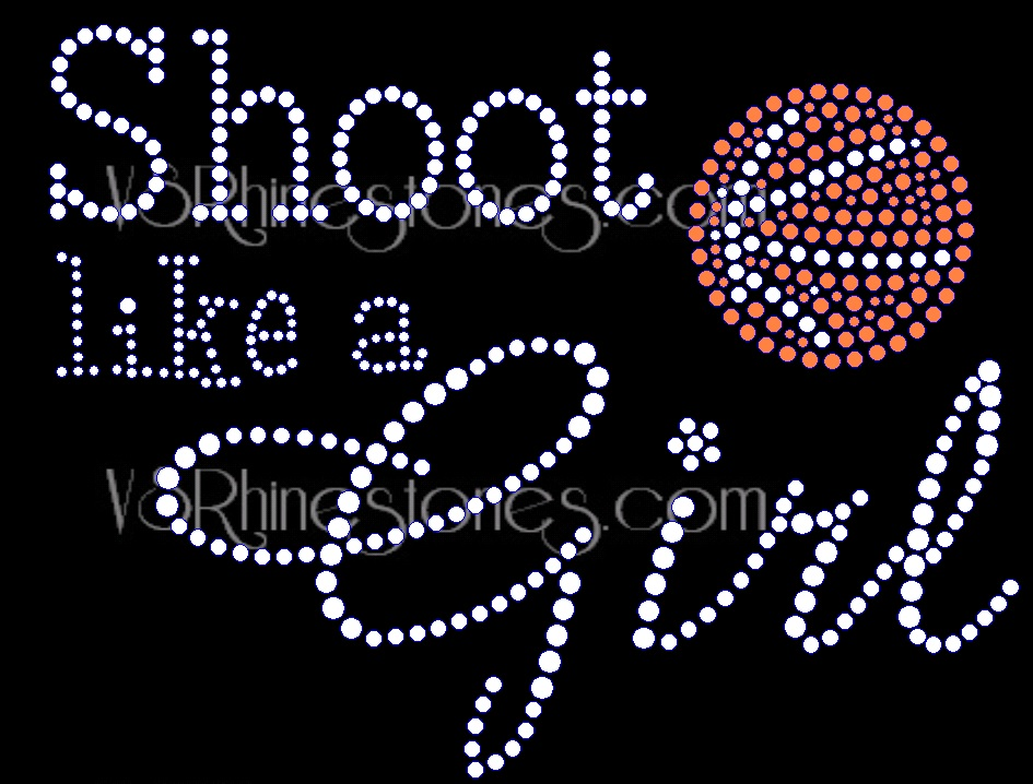 Shoot Like a Girl Basketball Rhinestone Transfer