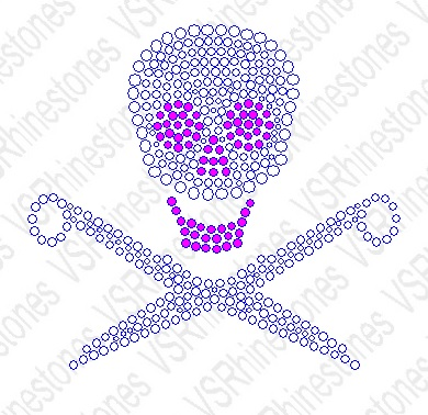 Scissor/Skull Rhinestone Car Decal