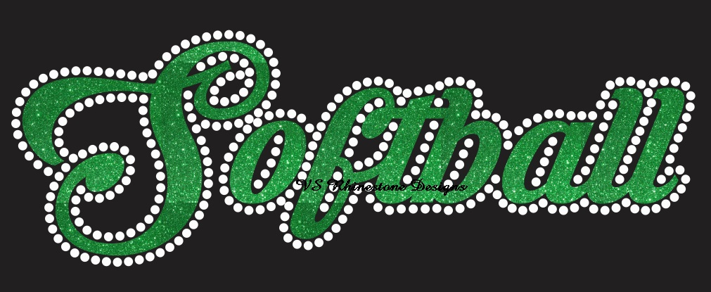 Softball Cursive Vinyl and Rhinestone Transfer