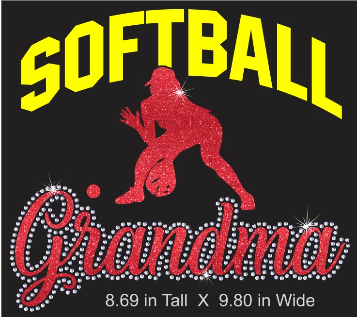 Softball Grandma Vinyl and Rhinestone Transfer