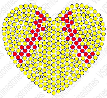 Softball Heart Filled Hotfix Rhinestone Transfer
