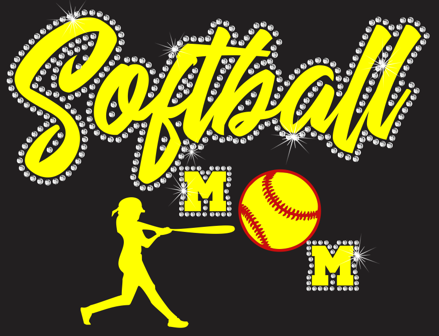 Softball Mom Vinyl and Rhinestone Transfer