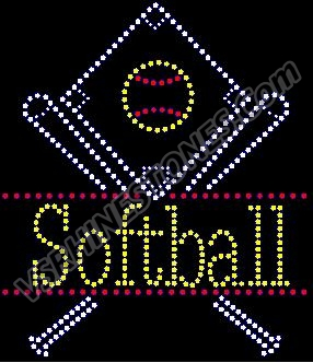 Softball Drop Rhinestone Transfer