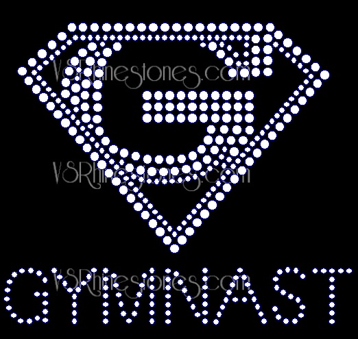 Super Gymnast Rhinestone Transfer - Small Left Chest
