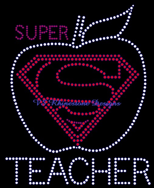 Super Teacher Rhinestone Transfer