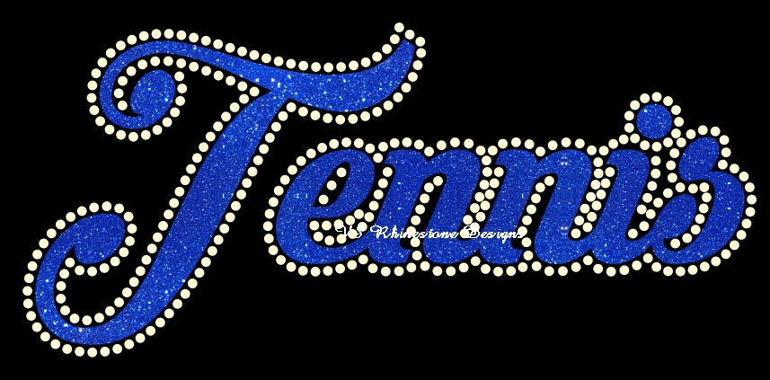 Tennis Cursive Vinyl and Rhinestone Transfer