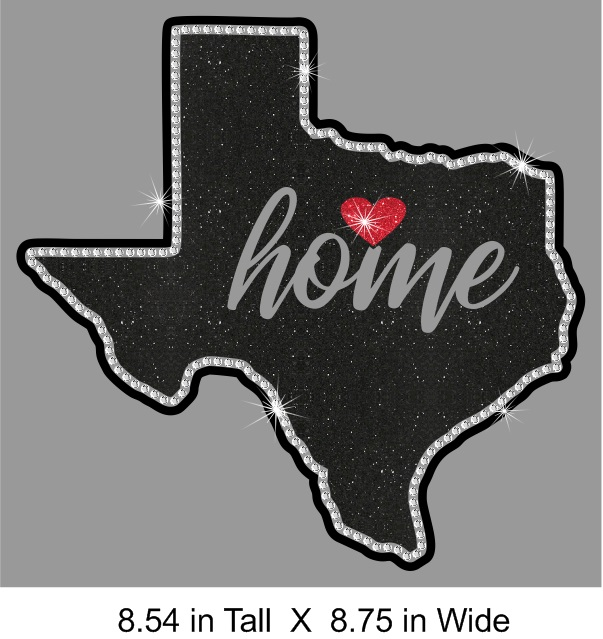 Texas State Home Vinyl and Rhinestone Transfer