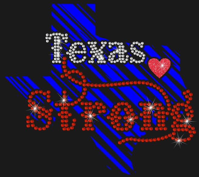 Texas Strong Vinyl and Rhinestone Sequin Transfer
