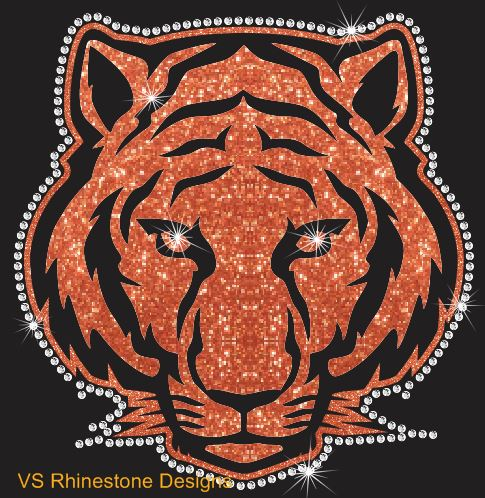 Tiger Mascot Vinyl and Rhinestone Transfer