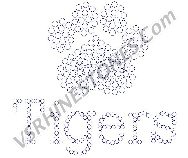 Tigers Paw Small and word Rhinestone Transfer