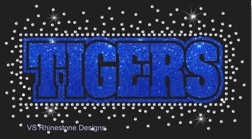 Tigers Reverse Vinyl and Rhinestone Transfer
