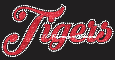 Tigers Cursive Rhinestone and Vinyl Transfer