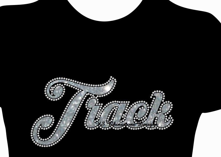 Track Cursive Vinyl and Rhinestone Transfer