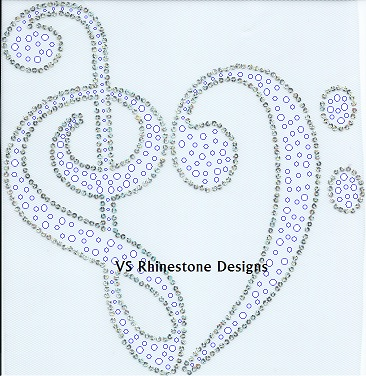 Treble Clef Heart Rhinestone and Sequin Transfer Combo