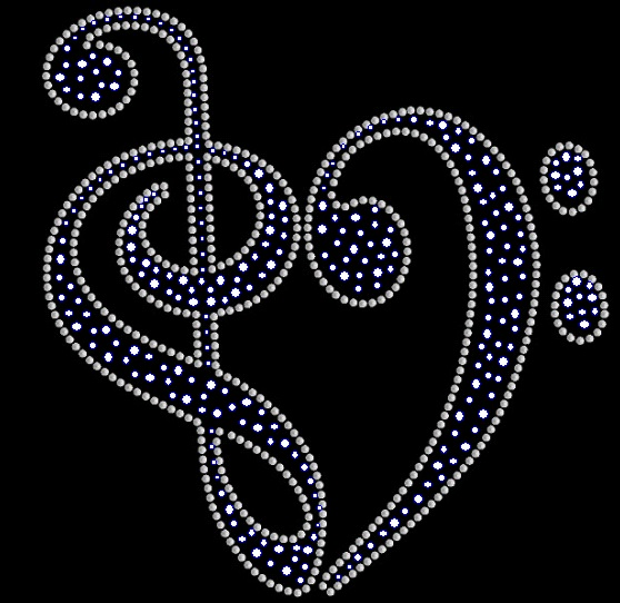 Trebel Clef Music Note Rhinestone and Sequin Transfer
